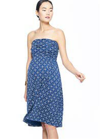 Queen Bee Clover Strapless Maternity Nursing Dress in Blue Print by Milky Way