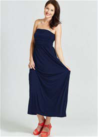 Queen Bee Strapless Maternity Nursing Maxi Dress in Navy by Milky Way