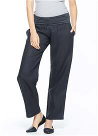 Queen Bee Havana Linen Maternity Pants in Black by Milky Way
