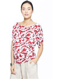 Queen Bee Boatneck Nursing Blouse in Red Print by Milky Way