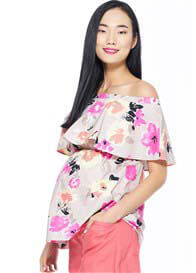 Milky Way - Peony Off Shoulder Nursing Top in Pink Floral