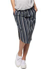 Queen Bee Mind Over Matter Maternity Skirt in Navy Stripes by Bae The Label