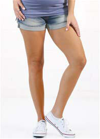 Queen Bee Pregnancy to Recovery Denim Shorts from Queen Bee