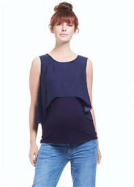 Queen Bee Isabella Maternity & Feeding Top in Navy by Soon Maternity