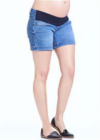 Queen Bee Axel Maternity Denim Short in Blue Light Wash by Soon Maternity