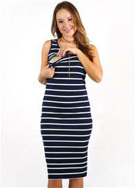 Queen Bee Billie Breastfeeding Midi Dress in Navy Stripes by Trimester
