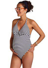 Queen Bee Capri Maternity One Piece Swimsuit in Navy Stripes by Pez DOr