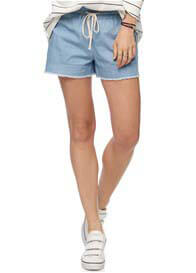Queen Bee Small Sacrifice Maternity Shorts in Chambray by Bae The Label