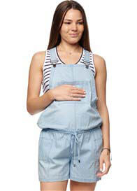 Queen Bee Small Sacrifice Maternity Overalls in Chambray by Bae The Label