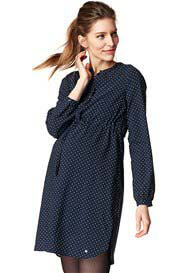 Queen Bee Navy Polka Dot Maternity Nursing Shirt Dress by Esprit
