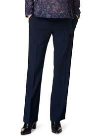 Queen Bee Belted Navy Straight Leg Maternity Trousers by Esprit