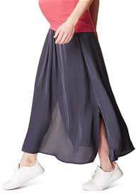 Queen Bee Fluid Side Split Maternity Maxi Skirt in Grey by Esprit