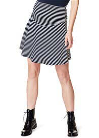 Queen Bee Swirling Navy Striped Jersey Maternity Skirt by Esprit