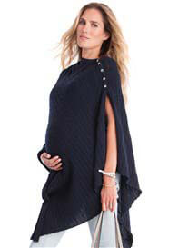 Queen Bee Joyce Cable Knit Nursing Shawl in Navy by Seraphine