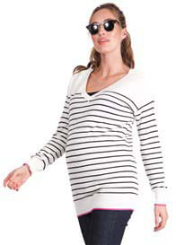 Queen Bee Honey Striped Maternity Nursing Knit Jumper by Seraphine