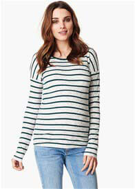 Queen Bee Galina Green Striped Maternity Ribbed Knit Jumper by Noppies