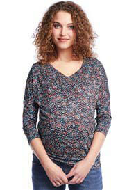 Queen Bee Banded Maternity Nursing Blouse in Blue Print by Queen mum