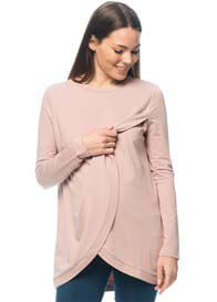 Queen Bee Split Personality Maternity Nursing Sweat Top in Musk by Bae