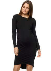 Queen Bee L/S Shadow Sounds Maternity Dress in Black by Bae The Label