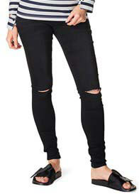 Queen Bee Ripped Skinny Black Maternity Jeans by Supermom