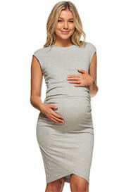 Queen Bee All or Nothing Maternity Dress in Grey by Bae The Label