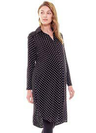 Queen Bee Gabby Black Print Maternity Shirt Dress by Imanimo