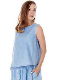 Queen Bee Margo Blue Chambray Maternity Tank Top by Imanimo