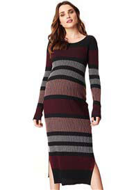 Queen Bee Jara Striped Knit Maternity Maxi Dress by Noppies