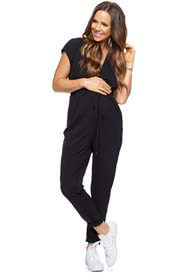 Queen Bee Mind Over Matter Pregnancy Pantsuit in Black by Bae The Label