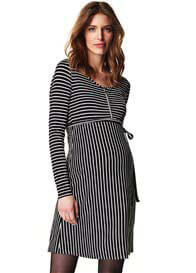 Queen Bee Black Striped Zip Maternity Nursing Dress by Esprit
