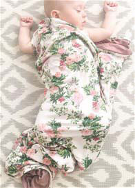 Everly Grey - Swaddle Blanket in Beige Floral