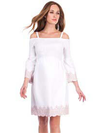 Seraphine - Anais Shirred Off Shoulder Dress in White