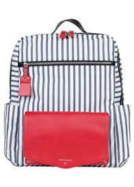 TWELVE little - Peek-a-Boo Backpack in Grey Stripe/Red